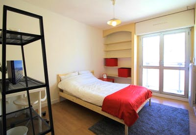 Snug double bedroom in a student flat, in Saint-Charles