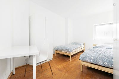 Bed in a cool twin bedroom, in Spandau
