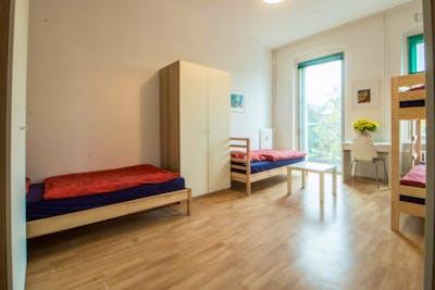 Single bed in neat three-bed dorm in Neukölln