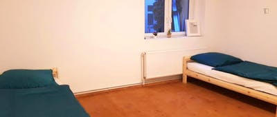 Bed in a twin bedroom, in a student flat in Spandau
